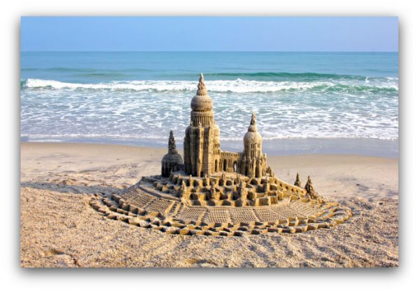 At the End of the Day: sandcastle & photo by artist Lou Gagnon, available as aluminum prints at www.SandWaterSky.com ~ 2015© LynnVale Studios llc