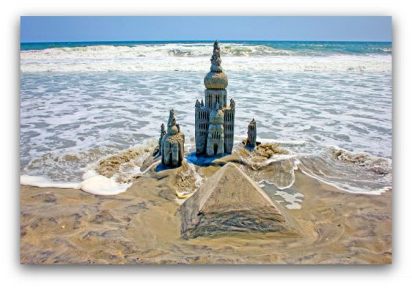 Sand and Sea: sandcastle & photo by artist Lou Gagnon, available as aluminum prints at www.SandWaterSky.com ~ 2015© LynnVale Studios llc