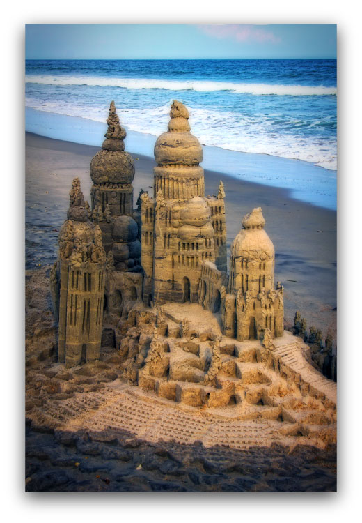 Sentinel: sandcastle & photo by artist Lou Gagnon, available as aluminum prints at www.SandWaterSky.com ~ 2015© LynnVale Studios llc