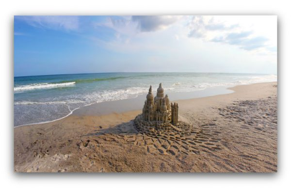 Sentinels and Sea: sandcastle & photo by artist Lou Gagnon, available as aluminum prints at www.SandWaterSky.com ~ 2015© LynnVale Studios llc