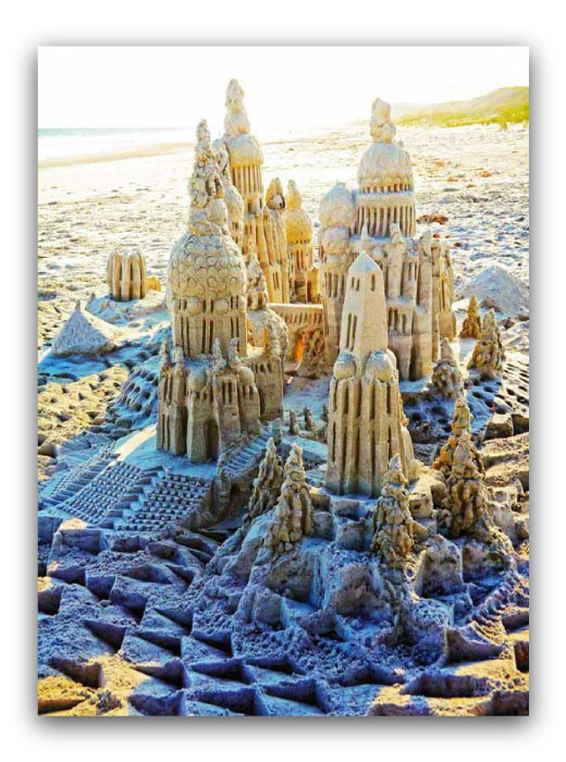 Setting in Sunshine: sandcastle & photo by artist Lou Gagnon, available as aluminum prints at www.SandWaterSky.com ~ 2015© LynnVale Studios llc