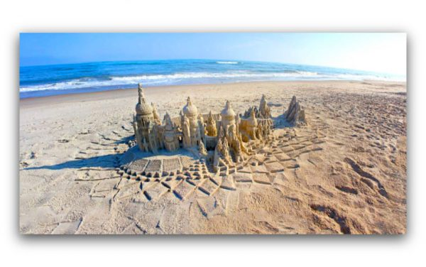 Setting on Sand: sandcastle & photo by artist Lou Gagnon, available as aluminum prints at www.SandWaterSky.com ~ 2015© LynnVale Studios llc