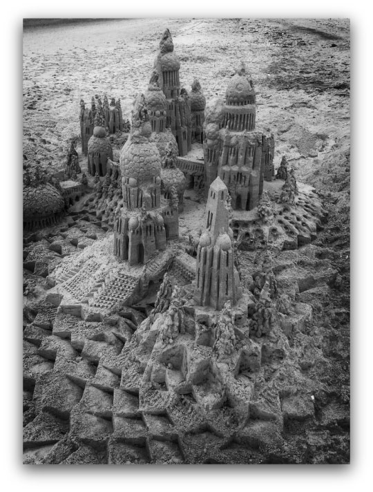 Silver Sentry: sandcastle & photo by artist Lou Gagnon, available as aluminum prints at www.SandWaterSky.com ~ 2015© LynnVale Studios llc