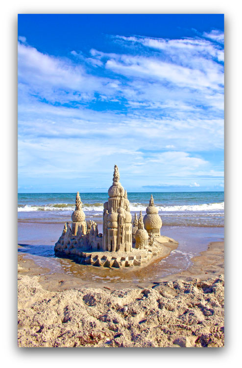 Standing Tall: sandcastle & photo by artist Lou Gagnon, available as aluminum prints at www.SandWaterSky.com ~ 2015© LynnVale Studios llc