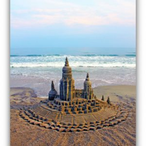 Subtle Setting: sandcastle & photo by artist Lou Gagnon, available as aluminum prints at www.SandWaterSky.com ~ 2015© LynnVale Studios llc