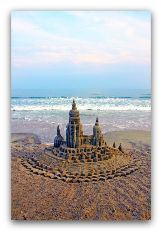 Subtle Setting: sandcastle & photo by artist Lou Gagnon, available as aluminum prints at www.SandWaterSky.com ~ 2015© LynnVale Studios llc